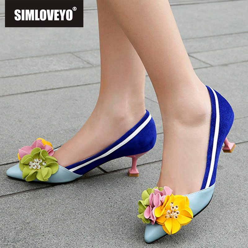 SIMLOVEYO Shoes woman designer Muti color flower High heels Ladies pumps Pointed toe Women genuine leather