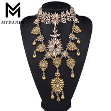 New Fashion Long Maxi Statement Necklace Collar Luxury Rhinestone Ctystal Pendant Choker Chunky Necklace Wedding Jewelry