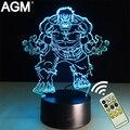 Lámpara de mesa novelty superhéroes marvel hulk caliente 3d táctil noche luces de 7 Colores RGB 3D LED Nocturna Centellante Decoración Para Niños regalos