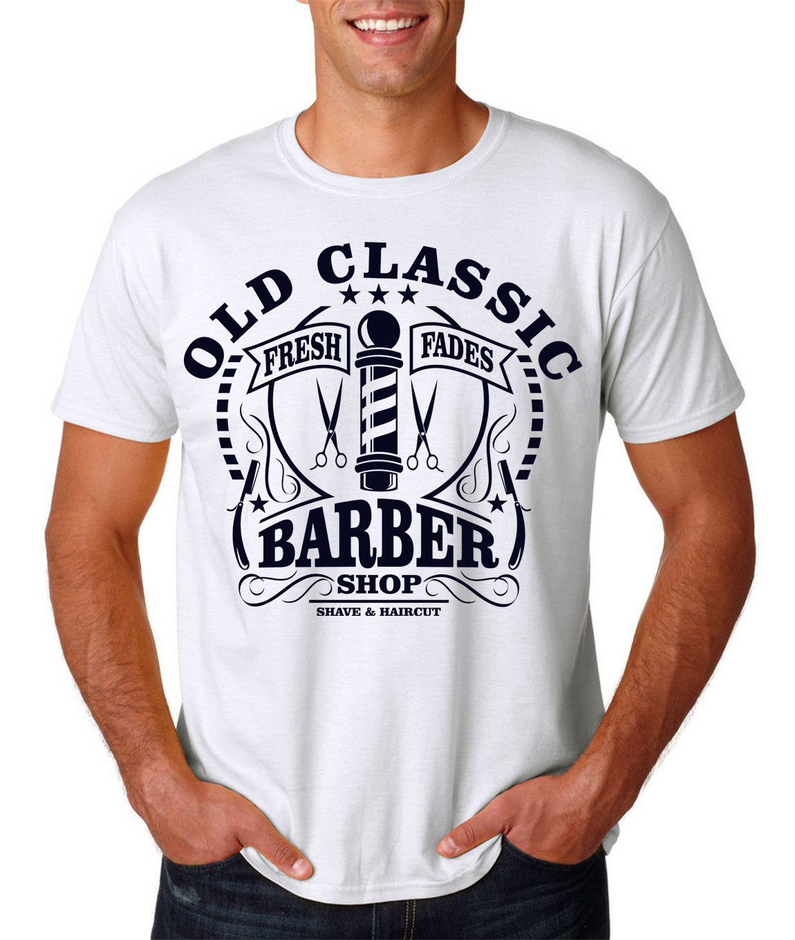 old classic barber shop vintage shave shaver knife dtg mens t shirt tees Fashion T-Shirts Summer Straight 100% Cotton