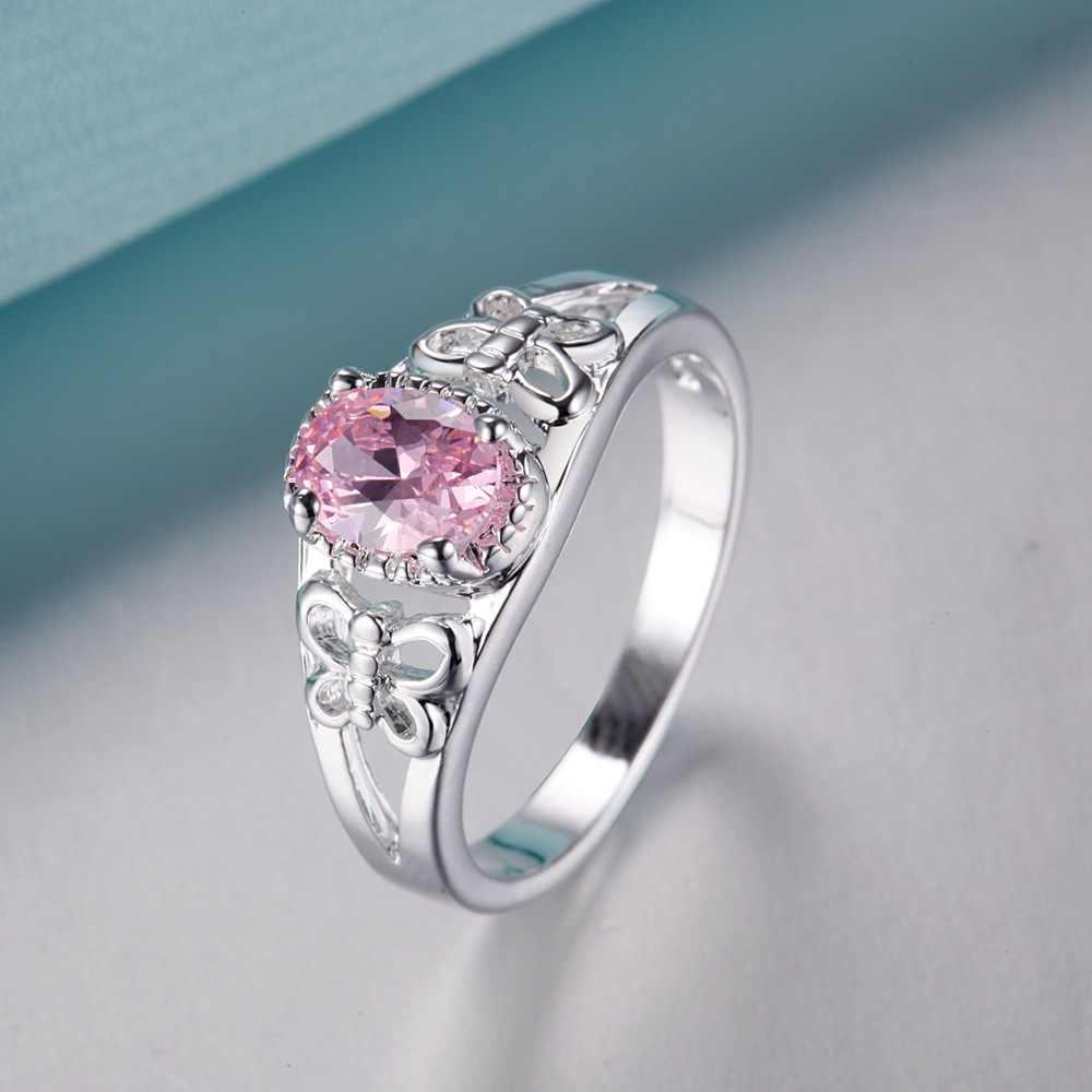 Elegant pink zircon ขายส่งเงิน 925 แหวนแฟชั่นเครื่องประดับแหวนผู้หญิง/JXKQIOYU MLCBZJGL