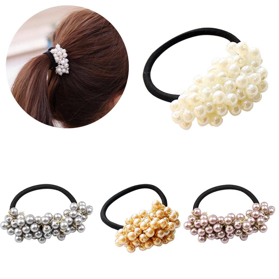 Nova Frisada Pérolas Atada Anel Pérolas Beads Headbands Do Cabelo Rabo de Cavalo Titular Elástica Faixas de Cabelo De Borracha Corda Cocar