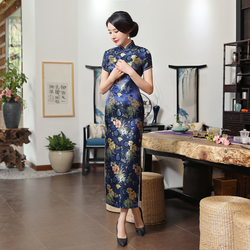 Hot Sale Navy Blue Satin Cheongsam Vintage High Quality Chinese Ladies' Qipao Silm Short Sleeve Novelty Long Dress S-3XL C0136-D