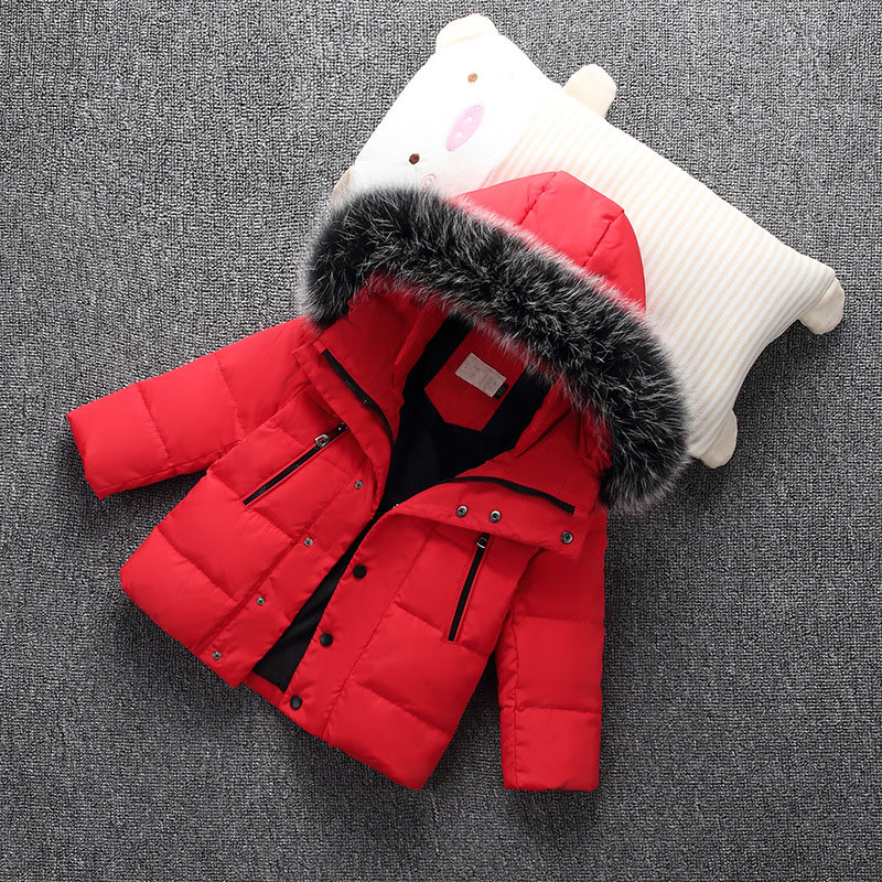 FYYIYI2018Winter New Girl Short Down Jacket Thick Scorpion Fur Collar Boys Hooded Down Jacket