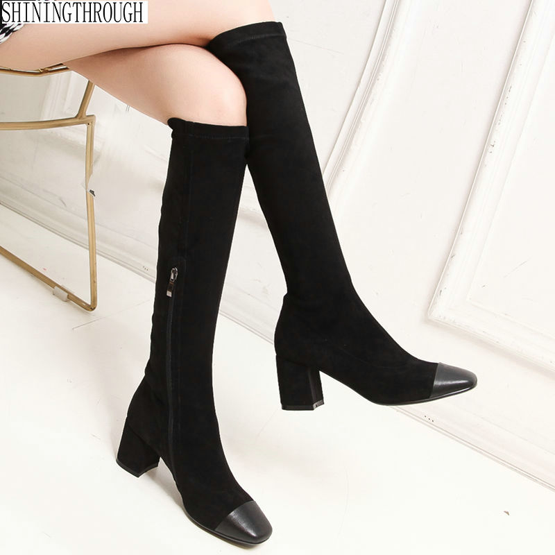 New genuine leather women knee high boots 6cm high heels boots ladies dress shoes patchwork woman