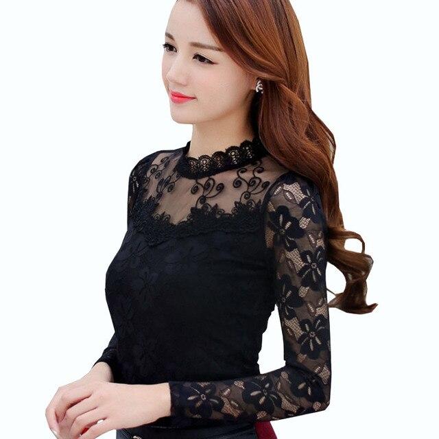 Black Lace Blouse Plus Size XXXL 4XL 5XL White Shirt Womens Tops And  Blouses Camisa Feminina Long Sleeve Blusa Transparente 2018 76be2613eb05