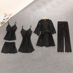 Image 5 - Marke 1 5 stücke Anzug Damen Sexy Silk Satin Pyjama Set Weibliche Spitze Pyjama Set Nachtwäsche Herbst Winter Zu Hause tragen nachtwäsche Für Frauen