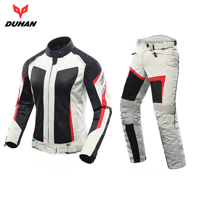 DUHAN woman s Motorcycle Jacket female Motocross Clothing Jackets Summer Armor body Guard jacket and Pants