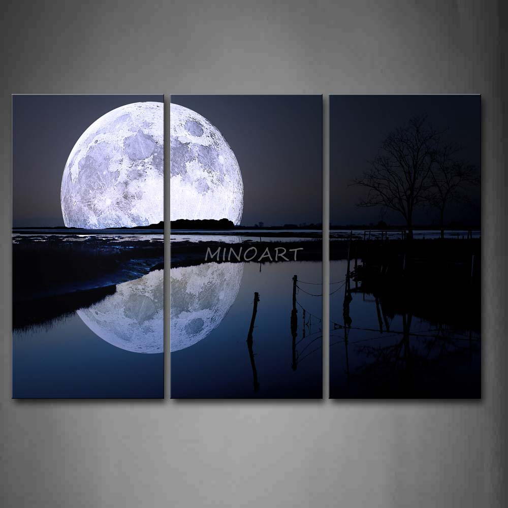3 Piece Black And White Wall Art Painting Reflection Of ...