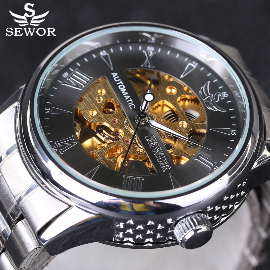 SEWOR automatic Watches Branded Mens Classic Stainless Steel Skeleton Automatic Mechanical Watch Fashion Sport Wristwatch New winner automatic watches branded mens classic stainless steel self wind skeleton mechanical watch fashion blue hand wristwatch
