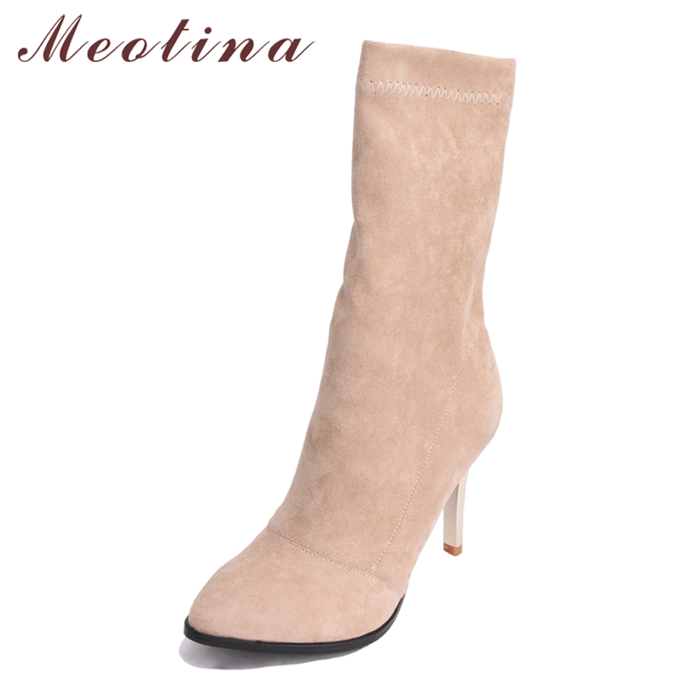 Meotina Mid Calf Boots Shoes Women Winter Boots Elastic High Heel Boots Autumn Sexy Female Footwear Beige Gray Black Size 34-43 stretch lycra womens knee high boots thick mid heel long riding boots shoes winter autumn boots black beige wine dark gray