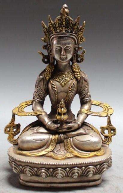 8 изысканные китайские тибетско буддистские серебряные позолоченные Амитаюс долголтия статуя Божьего Будды