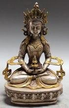 8 Tibet Tibetan Buddhist Silver Gilt Amitayus longevity God Buddha Statue