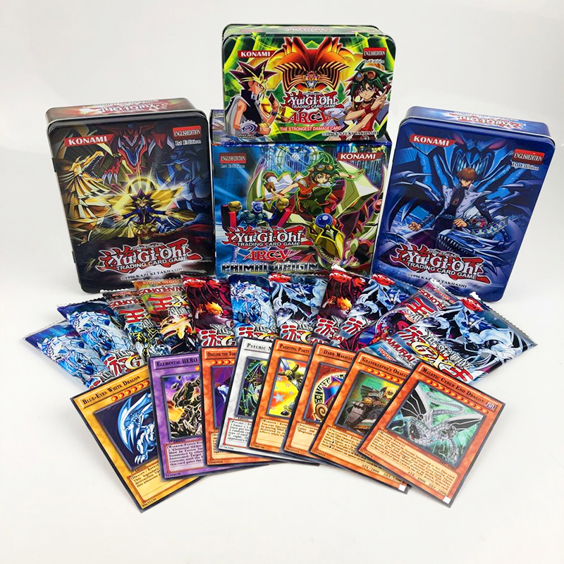 80pcs/set Yu-Gi-Oh Game Cards Classic Yu-Gi-Oh Game English Cards Carton Collection Cards With Flash Card And Metal Tin Box Toys