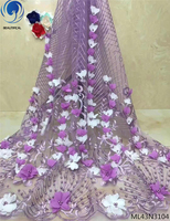 BEAUTIFICAL Tulle embroidered fabric lace lilac 3d lace applique bridal lace with light beads ML43N31