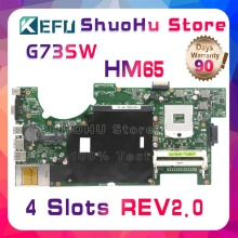 KEFU For ASUS G73SW G73S G73 4 SLOTS 2D REV:2.0 HM65 laptop motherboard tested 100% work original mainboard недорго, оригинальная цена