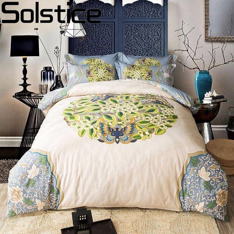 Solstice 2017 De Luxe Classique Feuilles Paisley Style 4 pcs Ensemble de Literie Draps Housse de Couette Drap de Lit Taie D'oreiller Reine Roi Taille