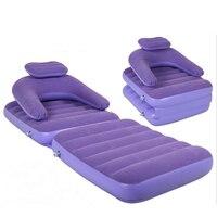 Flocking Inflatable Lazy Sofa Bed Folding Nap Dual Use Recliner Single Sofa Purple