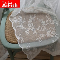 Customized Korean Pastoral White Lace Gauze Window American Village Wave Lace Tulle Curtain For Living Room