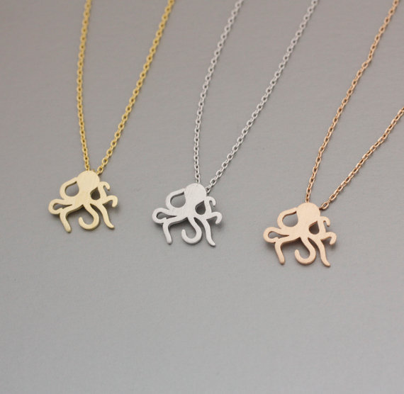Newest Listing Jewelry Necklace,Cute Octopus Pendant Necklace,Series Marine organisms Jewelry--30pcs/lot