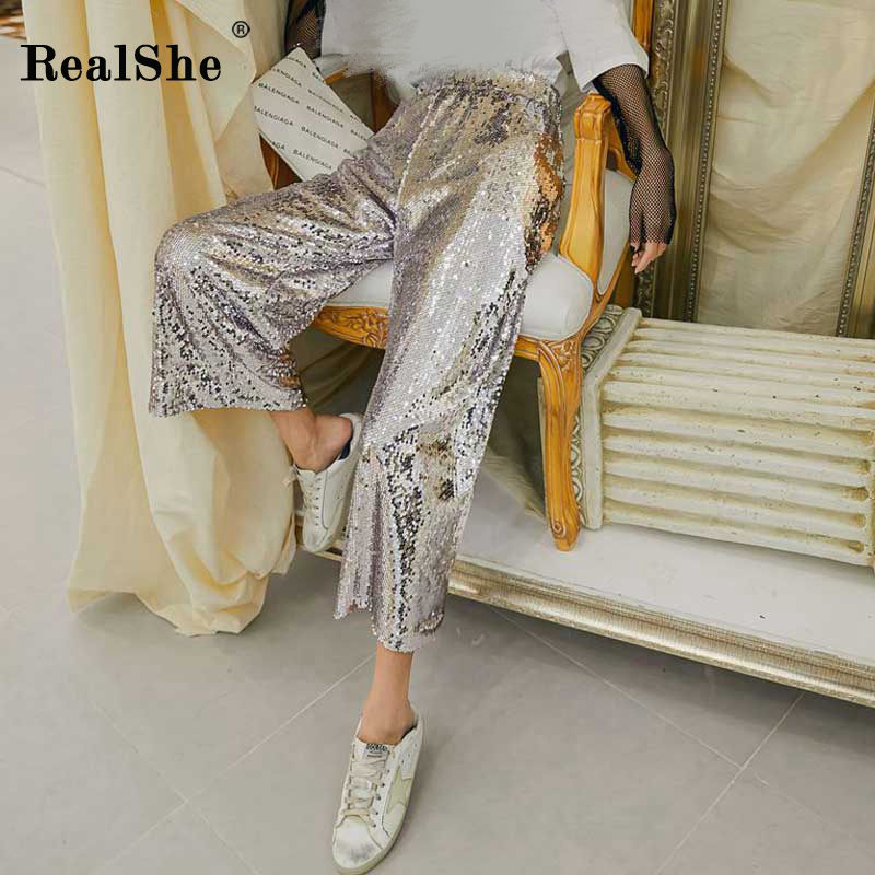 RealShe 2019   Pants   Women High Waist Sequins   Pants   And Trousers ladies Spring Summer Casual Loose Elastic Waist   Wide     Leg     Pants