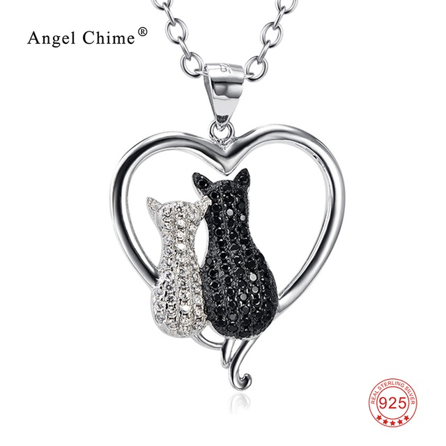 992b08a2928c0 100% Real 925 Sterling Silver Heart Necklace White Black Cubic Zirconia Two  Cat Necklaces Valentine s Gift For Women GNX8858
