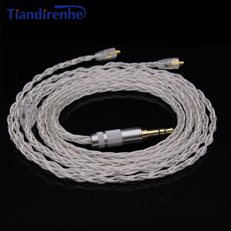Tiandirenhe Newest Upgraded MMCX Cable for Shure SE215 SE535 SE846 Earphone HIFI Headset Cables Replacement Silver-plated Wires