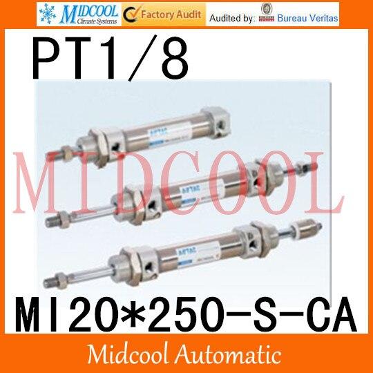 MI série ISO6432 Mini cylindre en acier inoxydable MI20 * 250-S-CA alésage 20mm port PT1/8