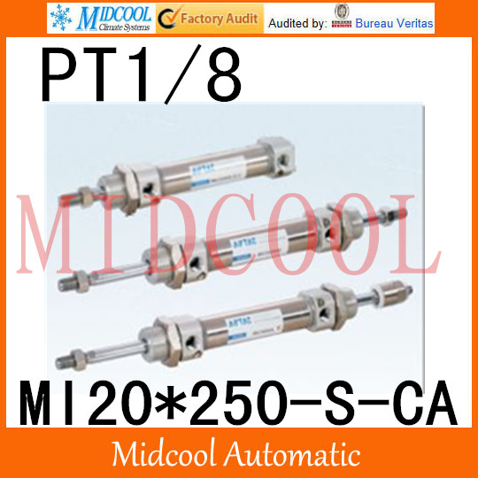 MI Series ISO6432 Stainless Steel Mini Cylinder MI20*250-S-CA bore 20mm port PT1/8 mi series iso6432 stainless steel mini cylinder mi10 200 s ca bore 10mm port m5 0 8
