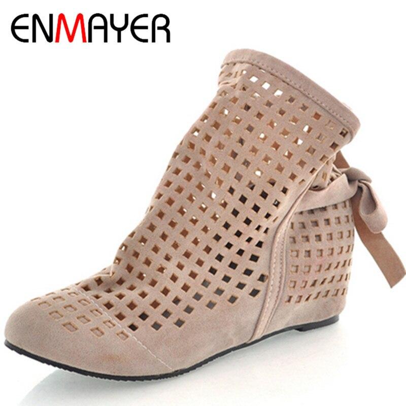 ENMAYER New Women Height Increasing font b Ankle b font font b Boots b font Shoes