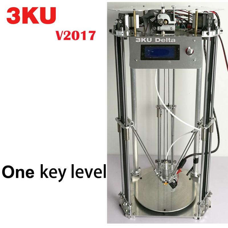 Prix pour 3KU Mise À Jour Full Metal Structure Delta 3D Imprimante avec heatbed une clé nivellement 1 KG PLA/ABS