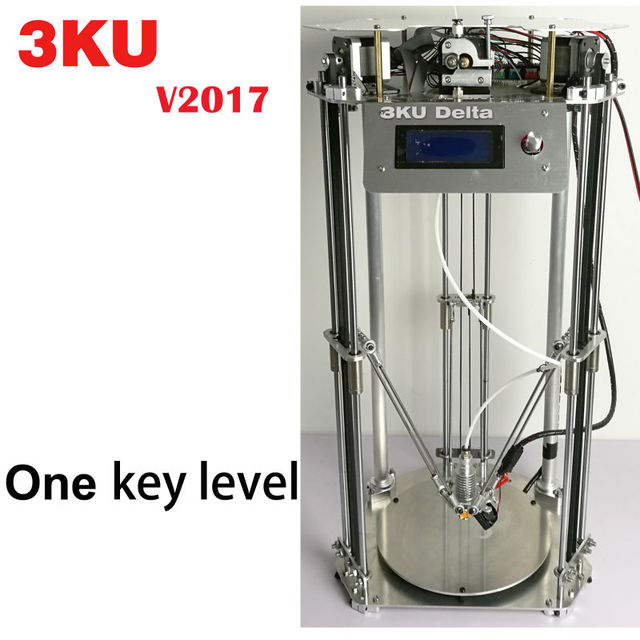 Free shipping 3KU Updated Full Metal Delta 3D Printer with heatbed one key leveling