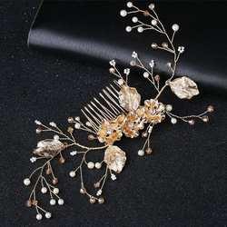 Новая мода Цветок искусственный жемчуг женская заколка свадебные гребень украшения головной убор