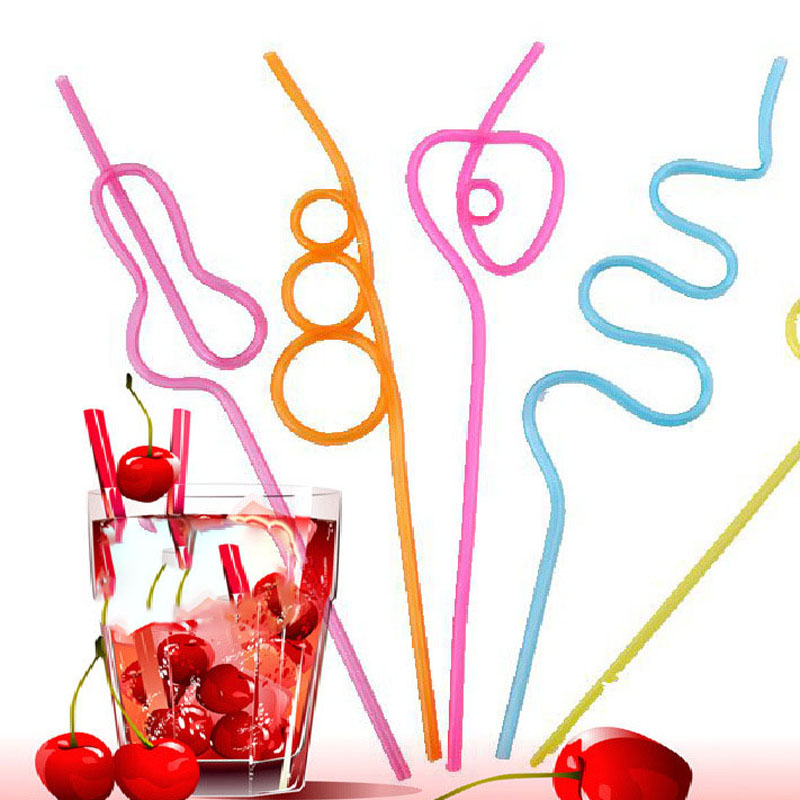 5pcs Multi-styling PVC Straws Birtyday Party Decorations Kids Solid Color Straws Wedding Decorations Party/Pool Supplies Straws