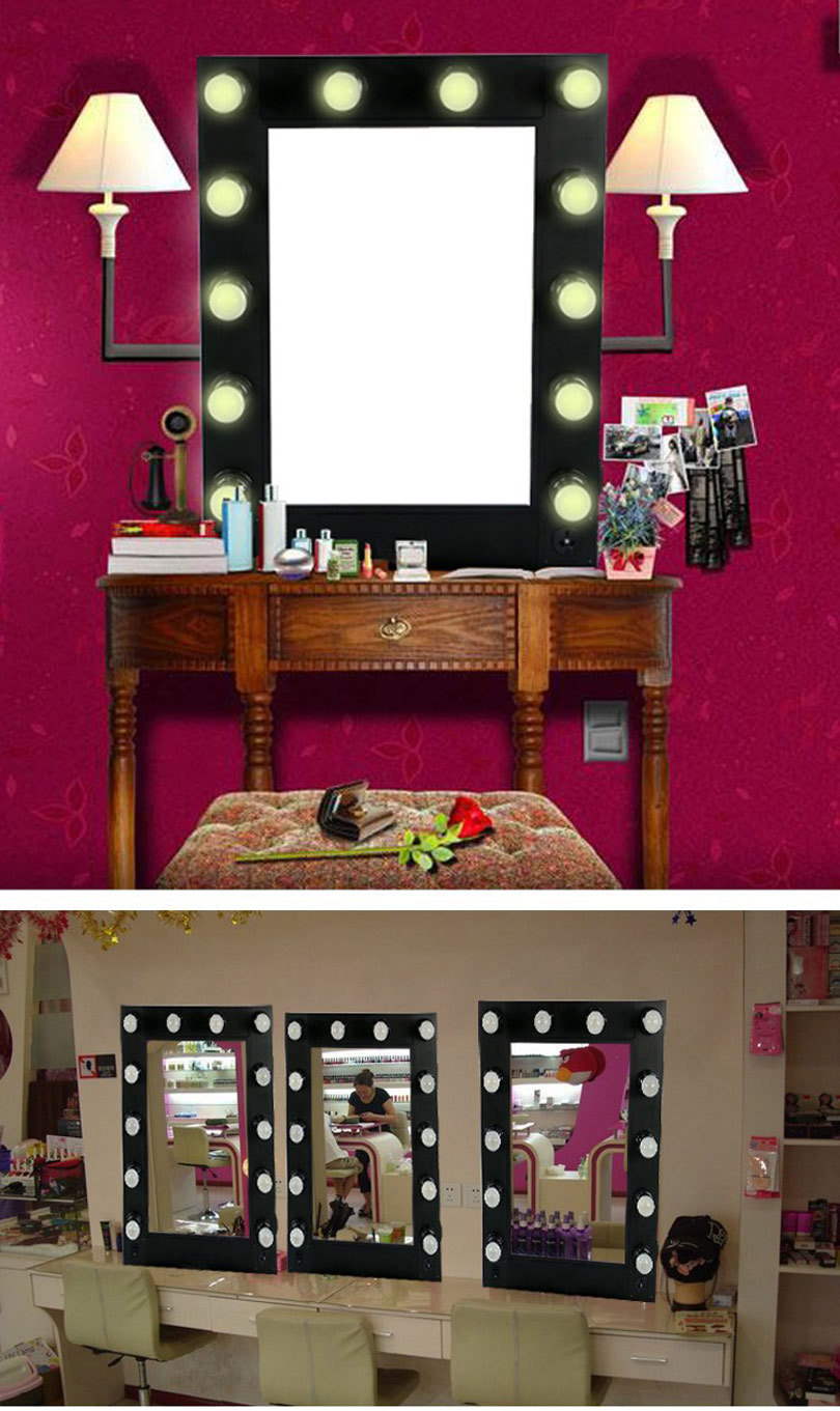 Cosmetic Mirror Hollywood Chic Aluminum Lighted Make Up Vanity Table Top  Mirror Dimmer Black USA ...