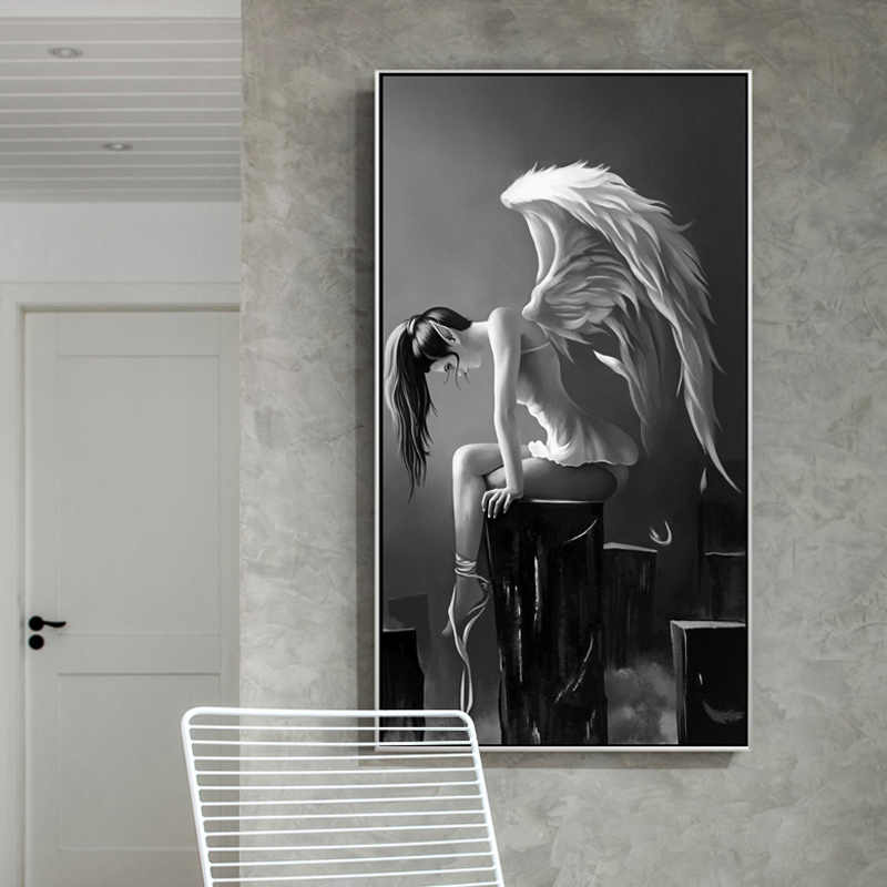 Modern Angel Wings Black And White Anime Poster Canvas Painting  for Living Room Girl Room Kids Room Home Decor Wall Art Picture