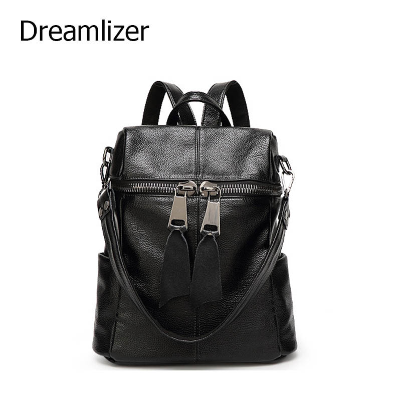 Dreamlizer Genuine Leather Backpack Real Leather Preppy Style School Backpack Female Cowhide Leather Women Bag Brand