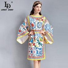LD LINDA DELLA New  Fashion Runway Designer Dress Plus size Womens Loose Long sleeve gorgeous Floral Print Casual