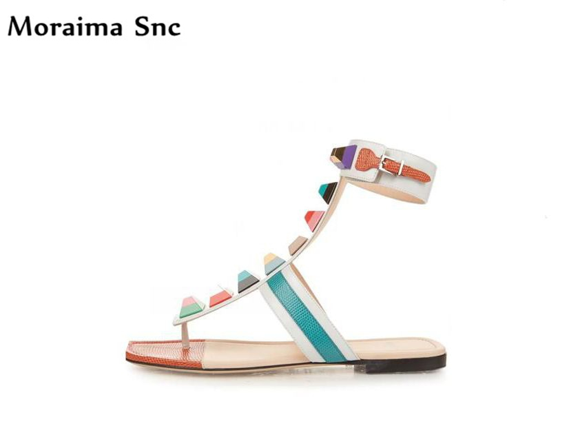 Moraima Snc summer sandals mixed colors Flat with colorful Rivets studded high quality  Ankle strap buckle casual shoes
