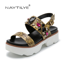 Adult Sandals 2017 Casual Round Toe Summer 2017 woman shoes 36-41 PU Leather Free shipping NAYTILYE