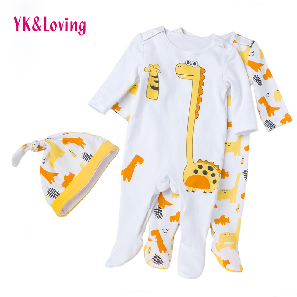 Dinosaur Baby Rompers 2018 Newborn Girl&boys Cotton Clothing Cartoon Long Sleeve Overalls Winter/ Autumn Infant Clothes