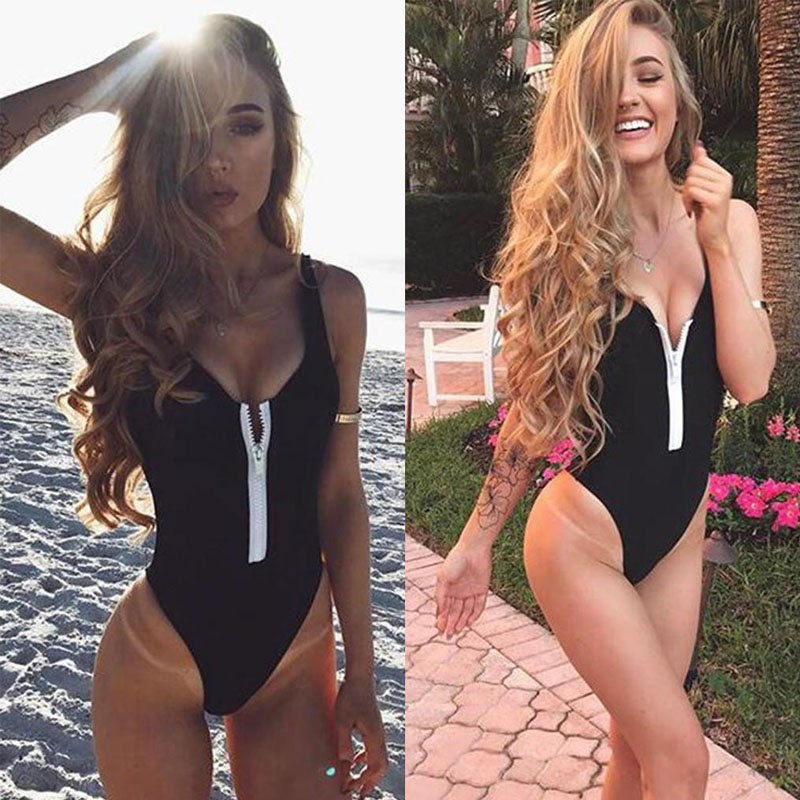 V Neck Zipper One-Piece Swimwear Women S