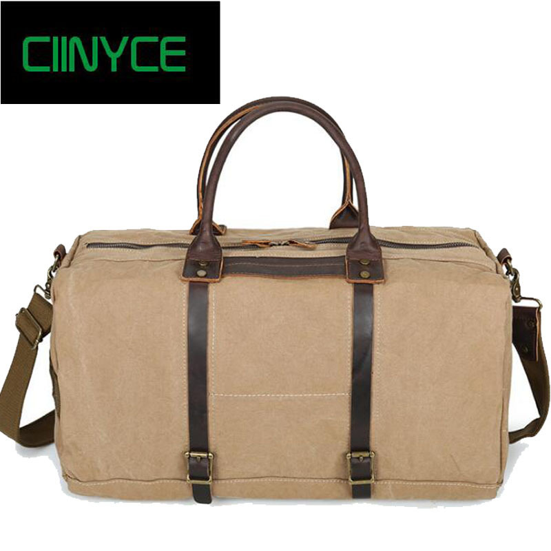 Vintage Military Canvas Leather Men Travel Bags Carry On Luggage Bags Men Duffel Bags Travel Tote Large Weekend Bag Overnight vintage canvas shoulder travel bags men large casual men crossbody messenger travel bag leisure hand luggage travel bags 1062