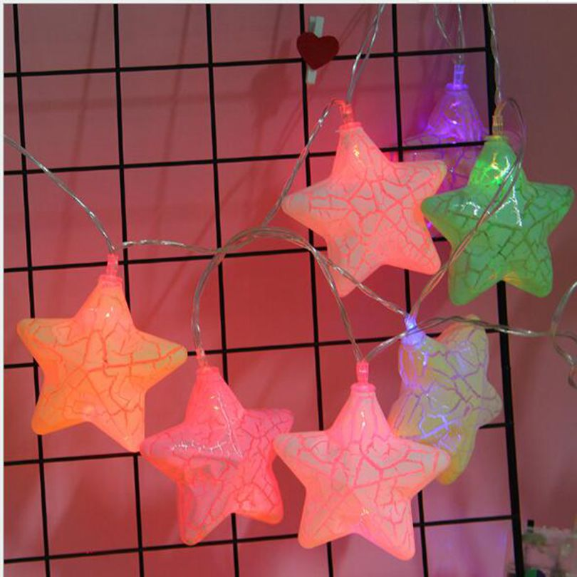 5sets Mix 2018 new led light string crack cloud five pointed star conch light string party supplies 1set 10led in Party DIY Decorations from Home Garden