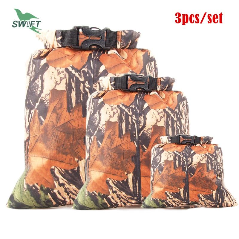 3pcs/Set Camouflage Ultralight Nylon Waterproof Swimming Bag 2016 Rafting Drifting Diving Dry Sack Superdry Swimsuit Stuff Bag