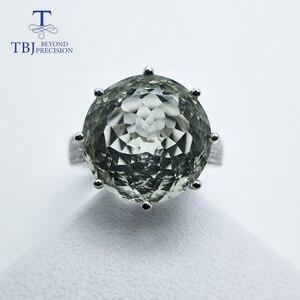 Большое Круглое зеленое кольцо с аметистом и prasiolite, ювелирное изделие из серебра с натуральным драгоценным камнем для девочек, TBJ