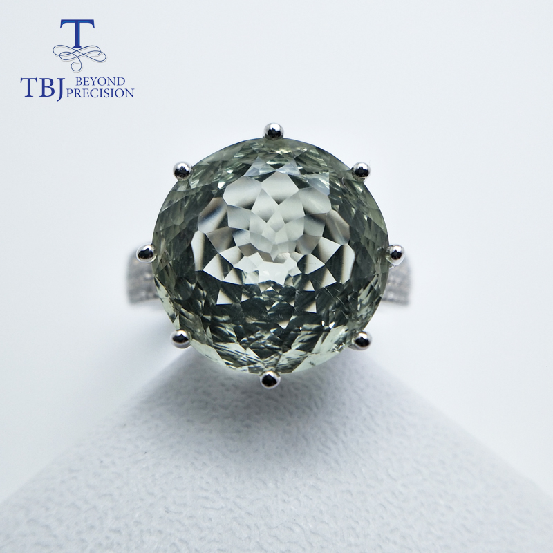 TBJ,Natural gemstone bird's nest cut big round green amethyst rings prasiolite ring 925 sterling silver fine jewelry for girl