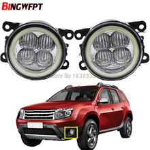 2x Super Bright Angel Eyes White Blue Led Fog light For Renault Duster Closed Off-Road Vehicle 2012-2015