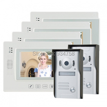 """7 """" TFT LCD de Video teléfono de la puerta del timbre del intercomunicador Home Security Camera Vision nocturna del Monitor 2V4"""