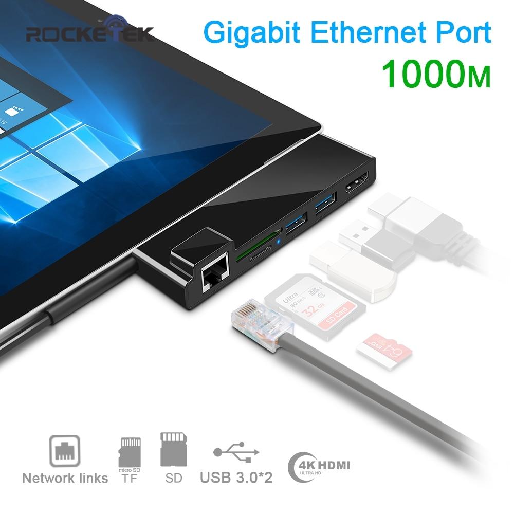 Rocketek usb 3.0 lecteur de carte 4 K HDMI 1000 Mbps Gigabit adaptateur Ethernet pour SD/TF micro SD Microsoft Surface Pro 3/4/5/6 HUB